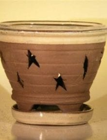 Ceramic Orchid Pot #1 - 7.625 x 6.125 Round With Matching Attached Saucer