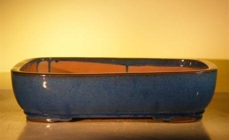 Blue Ceramic Bonsai Pot #2 - Rectangle 16.0 x 12.5 x 4.0