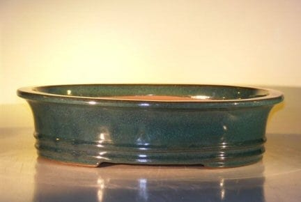 Green Ceramic Bonsai Pot - Oval 17.5 x 13.5 x 4.5