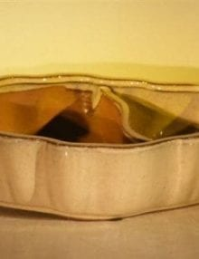 Beige Ceramic Bonsai Pot - Oval Land/Water with Scalloped Edges 12 x 9.5 x 3