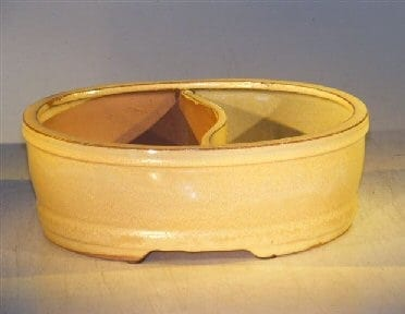 Beige Ceramic Bonsai Pot - Oval Land/Water Divider 12 x 9.5 x 4