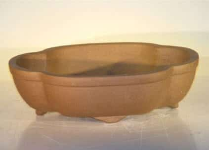 Ceramic Bonsai Pot - Oval Unglazed 12x9.625x3.5