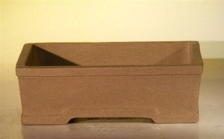 Tan Unglazed Ceramic Bonsai Pot #1 - Rectangle 6.5 x 4.5 x 2.125