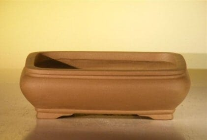 Tan Unglazed Ceramic Bonsai Pot #4 - Rectangle 8 x 6.125 x 2.5