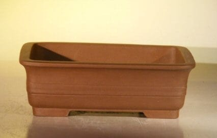 Brown Unglazed Ceramic Bonsai Pot #3 - Rectangle 10 x 7.875 x 3.125
