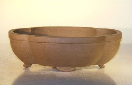 Tan Unglazed Ceramic Bonsai Pot #1 - Oval 8 x 6.125 x 2.5