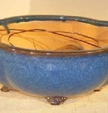 Blue Ceramic Bonsai Pot #1 - Oval Lotus Shaped Professional Series 10.5 x 9.0 x 4.0