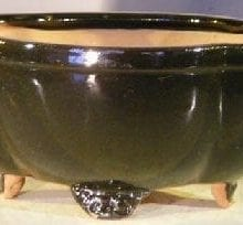 Black Ceramic Bonsai Pot - Oval Lotus Shape 8.5 x 7.25 x 4.0