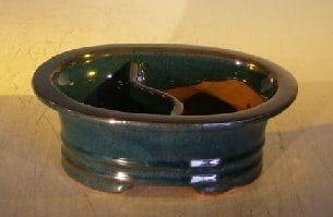 Dark Blue Ceramic Bonsai Pot - Oval Land/Water Divider 8 x 6 x 3
