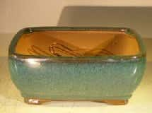 Green Ceramic Bonsai Pot #1 - Rectangle Professional Series 8.25 x 6.25 x 4.0