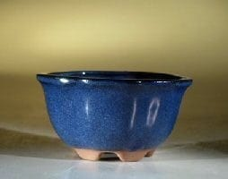 Blue Glazed Ceramic Bonsai Pot - Round 5 x 2.75