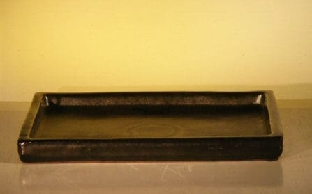 Black Ceramic Humidity/Drip Bonsai Tray - Rectangle 10.75 x 8 x 1 OD 10.25 x 7.5 x 1 ID