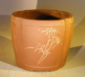Unglazed Round Cascade Bonsai Pot with Floral Etching 8.5 x 6.5 x 7
