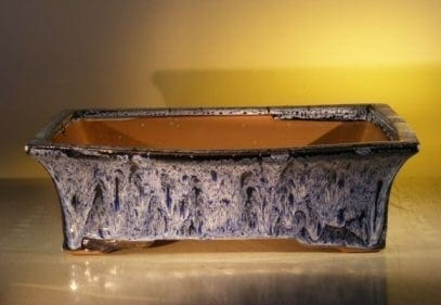 Marble Blue Ceramic Bonsai Pot - Rectangle 12.0 x 9.5 x 3.4