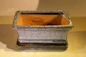 Marble Blue Ceramic Bonsai Pot - Rectangle Professional Series with Attached Humidity/Drip tray 6.37 x 4.75 x 2.625