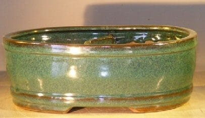 Blue/Green Ceramic Bonsai Pot Land/Water Divider 10 x 8 x 3.75
