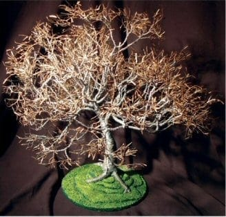Wire Bonsai Tree Sculpture For Sale - Dogwood on Lawn 19Hx19Wx21D